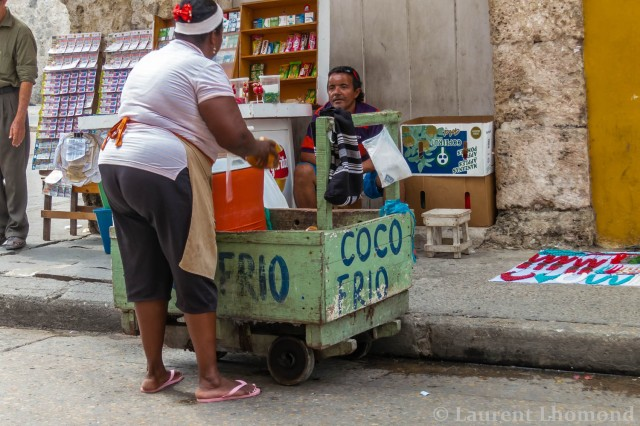 coconut water sold on the streets in Cartagena, Colombia