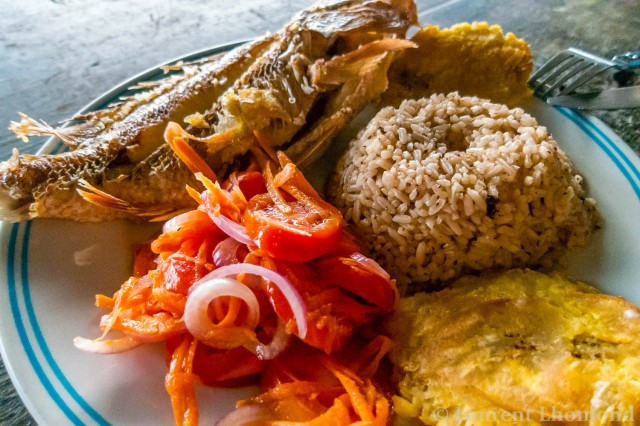 arroz con coco served with fried fish