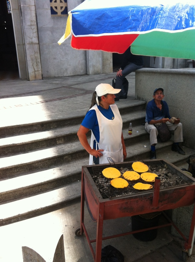 arepas get grilled up on almost every street corner
